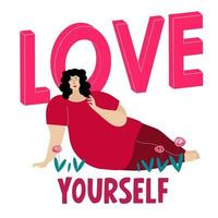 Body positive woman with lettering love yourself. vector