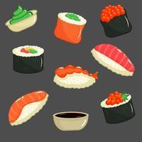 Sushi set. Asian Japanese restaurant food. vector