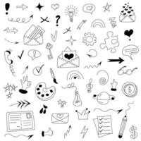 Set of different doodle elements such as envelopes, bulbs, arrows vector