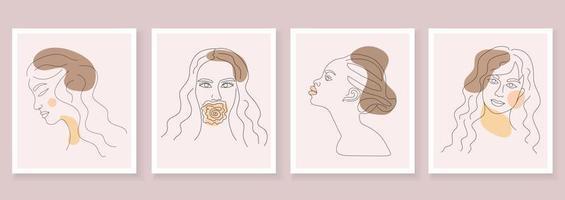 carteles abstractos con rostros de mujeres en estilo boho de contorno contemporáneo. vector