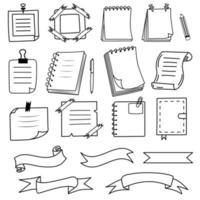 Notes, notebooks, ribbons in doodle style. vector