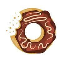 Colorful and glossy donut with sweet glaze and multicolored powder. vector