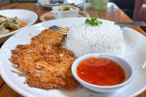 arroz de cerdo crujiente. comida rápida para gente con prisa. foto