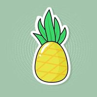Fruit pineapple sticker on a pop art background. vector