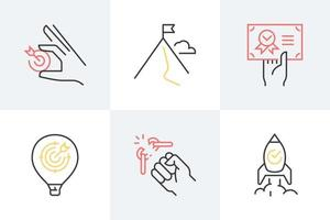Success and achievement outline icons. vector