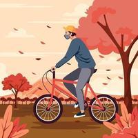 Biking in Autumn Morning vector