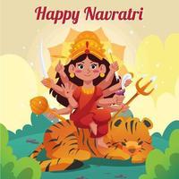 Happy Navratri Day with Durga Goddess vector