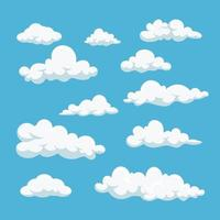 Cartoon white clouds icon set isolated on blue background vector