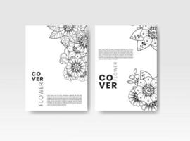 Vintage card with flowers on background, Book cover with flower. vector