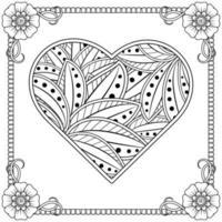 mehndi flower with frame in shape of heart vector