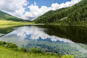 The Dolomites reflected in Lake Calaita in San Martino Di Castrozza Trento, Italy photo