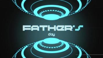 Fathers Day text with neon futuristic shapes video
