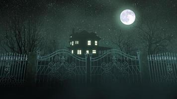 Mystical horror background with the house and moon video