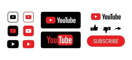 Youtube icon buttons editorial bundle. Like subscribe icons vector