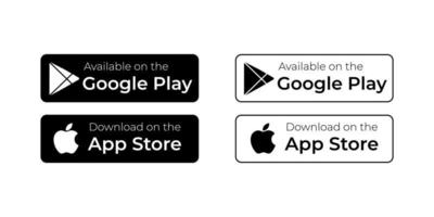 Get it on Play Store Button and Apple app store icon vector