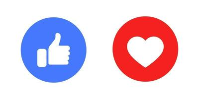 Like or thumb up and heart vector modern icons.