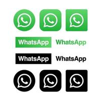 Whatsapp Logotype buttons collection vector