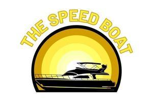 the speed boat silhouette retro design vector