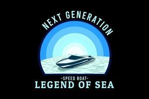 next generation speed boat retro design vector