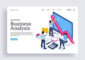 Data analysis team calculating business growth concept with characters vector