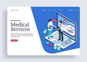 Medical care doctor and nurse healthcare teamwork isometric concept vector