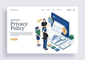 Team checking privacy policy and terms and conditions vector