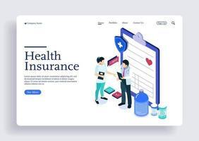 Isometric concept doctor and nurse discussing about health insurance vector