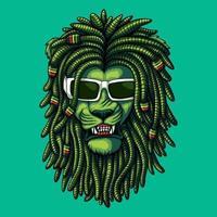 Lion green dreadlocks vector illustration