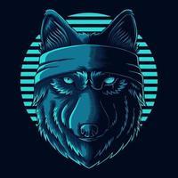 Wolf head wear bandana vector illustration