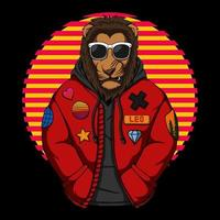 Cool lion wearing jacket vector illustration