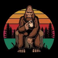 Big primate relaxing with coffee retro vector illustration