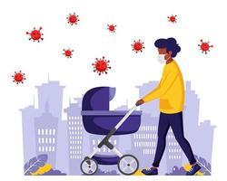 hombre negro caminando con el bebé durante la pandemia. hombre en mascarilla. vector