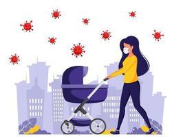 mujer en mascarilla caminando con cochecito de bebé durante la pandemia. vector