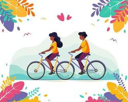 Black couple riding tandem bicycle. Healthy lifestyle, summer time vector