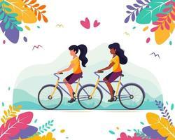 concepto lgbt. pareja gay femenina montando en una bicicleta tándem. vector