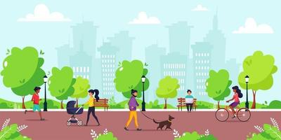 People activity in the park. Outdoor activity. vector