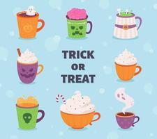 Halloween drinks collection. Happy Halloween, trick or treat. vector