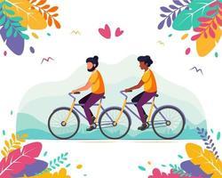 concepto lgbt. pareja gay masculina montando en una bicicleta tándem. vector