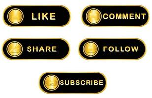 Social media label with black gold colour vector