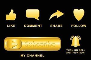 plantilla de redes sociales, icono de me gusta, compartir y comentar con dorado vector