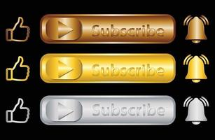 Subscribe my channel button, icon set with gold and medal colour vector