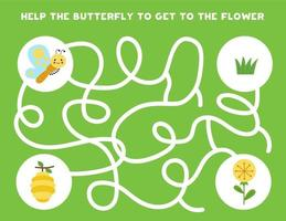 Colorful logical maze with cute butterfly. Logical game for kids. vector
