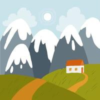 Landscape with snowy mountains, sun and white house on a green hills. vector