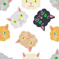 Multicolor seamless pattern with cute cat faces. vector