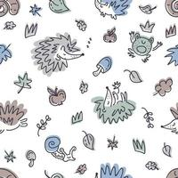 Free hand drawing seamless pattern with hedgehogs and autumn elements vector