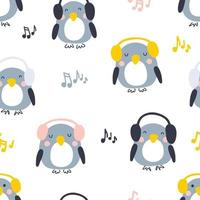 Cartoon style musical penguins seamless pattern. vector