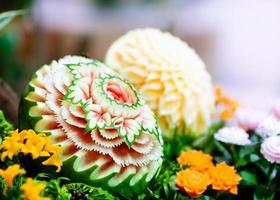 Fruit and vegetable carvings, Display thai fruit carving decoration photo