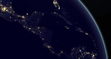 continent d'amérique centrale sur la planète terre la nuit en rotation depuis l'espace video