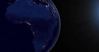 continent africain sur la planète terre la nuit en rotation depuis l'espace video