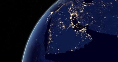 péninsule arabique dans la nuit sur la planète terre depuis l'espace video